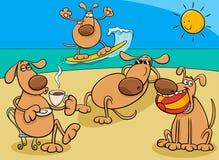 Grupo de los perros en el ejemplo de la historieta del día de fiesta stock de ilustración