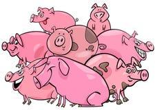 Grupo de los personajes de dibujos animados del animal del campo de cerdos stock de ilustración