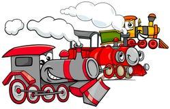 Grupo de los personajes de dibujos animados del motor de vapor stock de ilustración