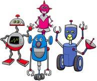 Grupo de los robots o de los personajes de dibujos animados de los droids stock de ilustración