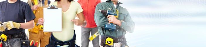 Grupo de los trabajadores de construcción imagen de archivo
