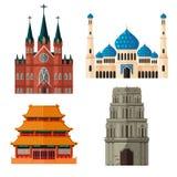 Grupo de lugar de culto para religiões diferentes Imagem de Stock Royalty Free