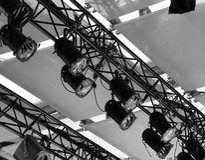 Grupo de luz da fase em um teatro Fotografia de Stock Royalty Free