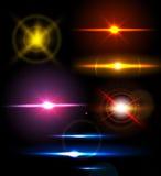 Grupo de luzes da faísca com efeitos da transparência Coleção de alargamentos brilhantes bonitos da lente Imagem de Stock Royalty Free