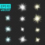 Grupo de luzes do vetor em transparente Fotografia de Stock Royalty Free