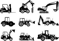 Grupo de máquinas da construção pesada Ilustração do vetor Imagens de Stock Royalty Free
