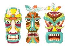 Grupo de máscara tribal do tiki Imagens de Stock Royalty Free