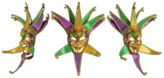 Grupo de máscaras coloridas de Mardi Gras isoladas Fotografia de Stock Royalty Free