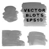 Grupo de máscaras do grunge de manchas pintados à mão da aquarela cinzenta Ilustração EPS10 do vetor Imagens de Stock