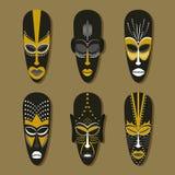 Grupo de máscaras tribais étnicas ilustração royalty free