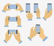 Grupo de mão que guarda o telefone esperto ilustração royalty free