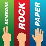 Grupo de mãos com gesto da rocha, das tesouras e do papel Fotografia de Stock Royalty Free