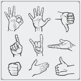 Grupo de mãos dos povos gestos diferentes Imagens de Stock
