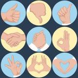 Grupo de mãos em emoções e em sinais diferentes dos gestos Foto de Stock
