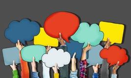 Grupo de mãos que guardam bolhas do discurso Foto de Stock