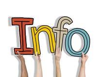 Grupo de mãos que guardam a informação da palavra Fotos de Stock Royalty Free