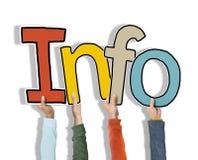 Grupo de mãos que guardam a informação da palavra Imagem de Stock Royalty Free