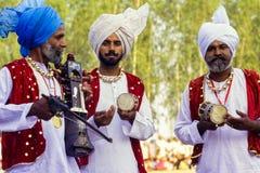 Grupo de músicos en el Punjab, la India foto de archivo libre de regalías