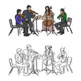 Grupo de músicos que juegan en bosquejo del ejemplo del vector del cuarteto Imagen de archivo