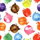 Grupo de maçãs do desenho da aquarela, elementos do projeto do alimento, frutos frescos, ilustração tirada mão Foto de Stock Royalty Free