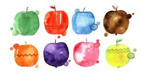 Grupo de maçãs do desenho da aquarela, elementos do projeto do alimento, frutos frescos, ilustração tirada mão Fotografia de Stock Royalty Free