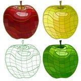 Grupo de maçãs do mosaico Isolado fácil alterar ilustração stock