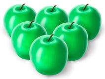 Grupo de maçãs verdes Fotos de Stock