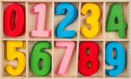 Grupo de madeira colorido do número Imagens de Stock