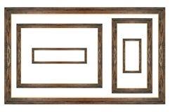 Grupo de madeira da moldura para retrato no branco isolado Imagens de Stock