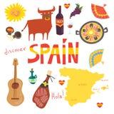 Grupo de mais do que os símbolos 12Spanish: touro, guitarra, mapa, paella, vinho, guitarra, azeite, instrumento castanetsmusic, j ilustração do vetor