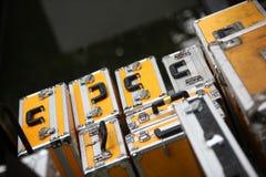 Grupo de maleta amarilla Fotografía de archivo