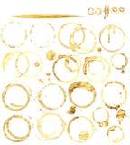 Grupo de mancha do café, isolado no fundo branco Fotografia de Stock Royalty Free