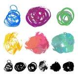 Grupo de manchas da escova da aquarela Imagens de Stock