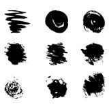 Grupo de manchas do preto da aquarela Fotos de Stock
