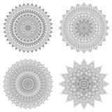 Grupo de mandalas florais, ilustração do vetor Fotografia de Stock Royalty Free