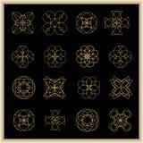 Grupo de mandalas ou de elementos geométricos Imagens de Stock