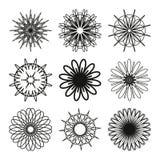 Grupo de mandalas redondas geométricas Ilustração Stock