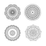Grupo de mandalas simétricas circulares Fotografia de Stock