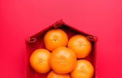 Grupo de mandarina anaranjada en bandeja china del modelo en la tabla roja t Foto de archivo libre de regalías