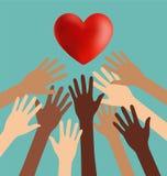 Grupo de mano de la diversidad que alcanza para el corazón rojo Fotografía de archivo