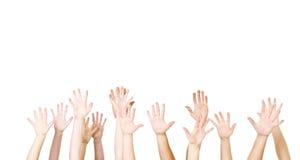 Grupo de manos en el aire Imagen de archivo libre de regalías