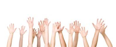 Grupo de manos en el aire foto de archivo