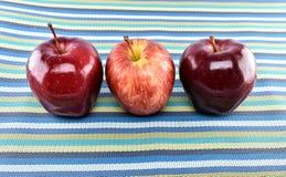 Grupo de manzanas rojas en mantelería Imagenes de archivo
