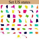 Grupo de mapas do estado de E.U. Fotografia de Stock Royalty Free