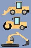 Grupo de maquinaria de construção de estradas, rolo de estrada, máquina escavadora, carregador da roda, imagens lisas Fotos de Stock Royalty Free