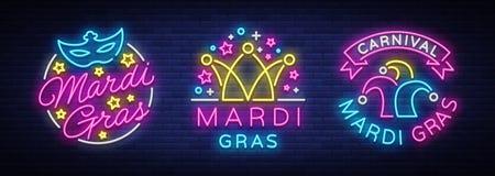 Grupo de Mardi Gras de molde do projeto para cartões, insetos Terça-feira gorda é coleção de ilustrações festivas no néon ilustração stock