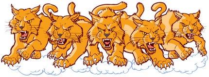 Grupo de mascotas salvajes malas de la historieta que cargan adelante ilustración del vector