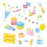 Grupo de materiais coloridos da festa de anos Ilustração do vetor Imagem de Stock Royalty Free