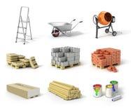 Grupo de material de construção Escada, roda, misturador concreto, cem Foto de Stock Royalty Free