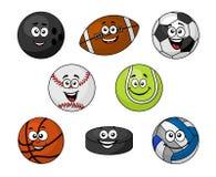 Grupo de material desportivo dos desenhos animados Imagens de Stock